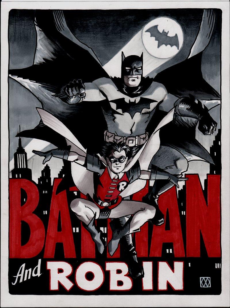 Batman & Robin Beautiful Mixed Media Pinup!
