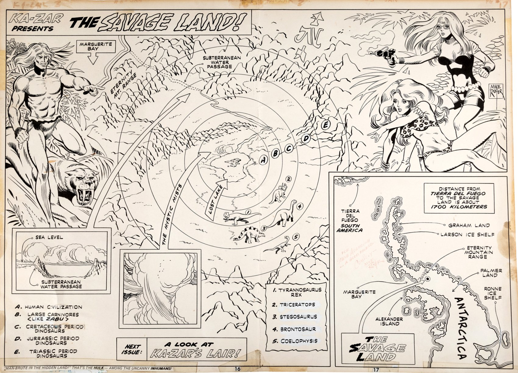 Ka-Zar #3 p 16-17 (Double Page Splash On 1 Large Board, KA-ZAR, ZABU, SHEENA, MOCKINGBIRD!) 1974