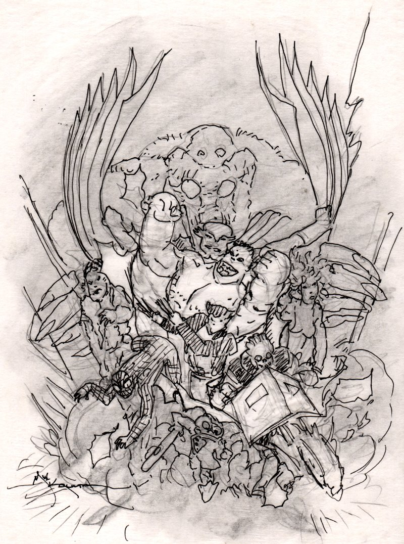 Fear Itself: Fearsome Four #3 Cover Prelim (Spider-Man, Ghost Rider, Wolverine, Howard the Duck, She-Hulk, Man-Thing)