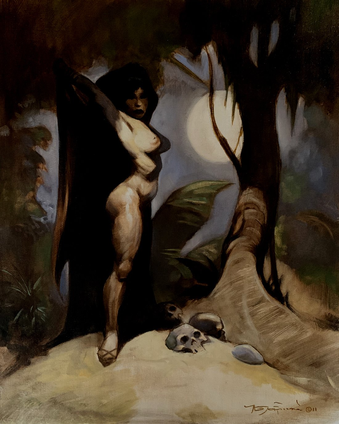 Sexy Cloaked Nude Woman Large Painting (2011)