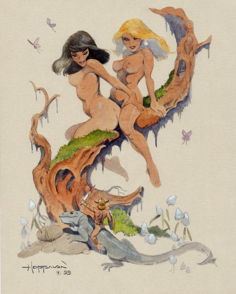 Sexy Nude Female Giants / Tiny Soldier Color Pinup