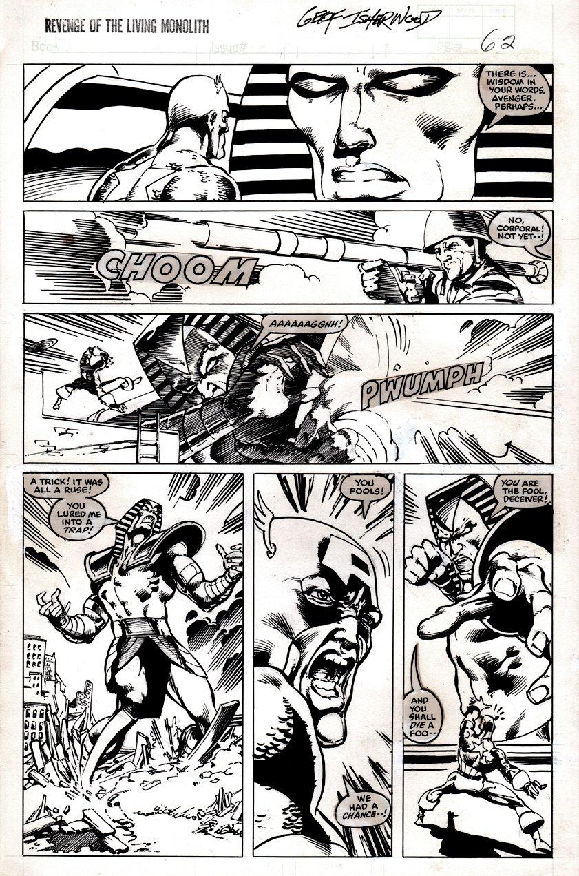 Marvel Graphic Novel #17 p 62 (LIVING MONOLITH READY TO KILL CAPTAIN AMERICA, COVER SCENE!) 1985
