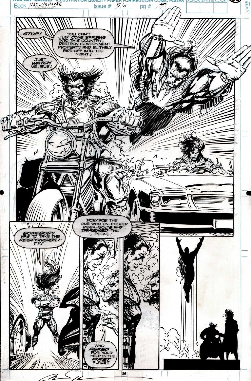 Wolverine #56 p 26 SEMI-SPLASH (WOLVERINE, GAMBIT, SUNFIRE!) 1992