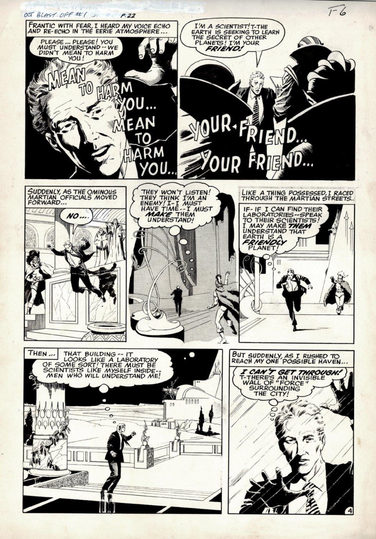 Blast-Off #1 / Alarming Tales #4 p 4 SCI-FI Story (Large Art) 1958