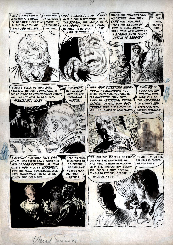 Weird Science #22 p 4 (TIME TRAVEL, WILLIAMSON, FRAZETTA, KRENKEL Inked Page!) Large Art - 1953
