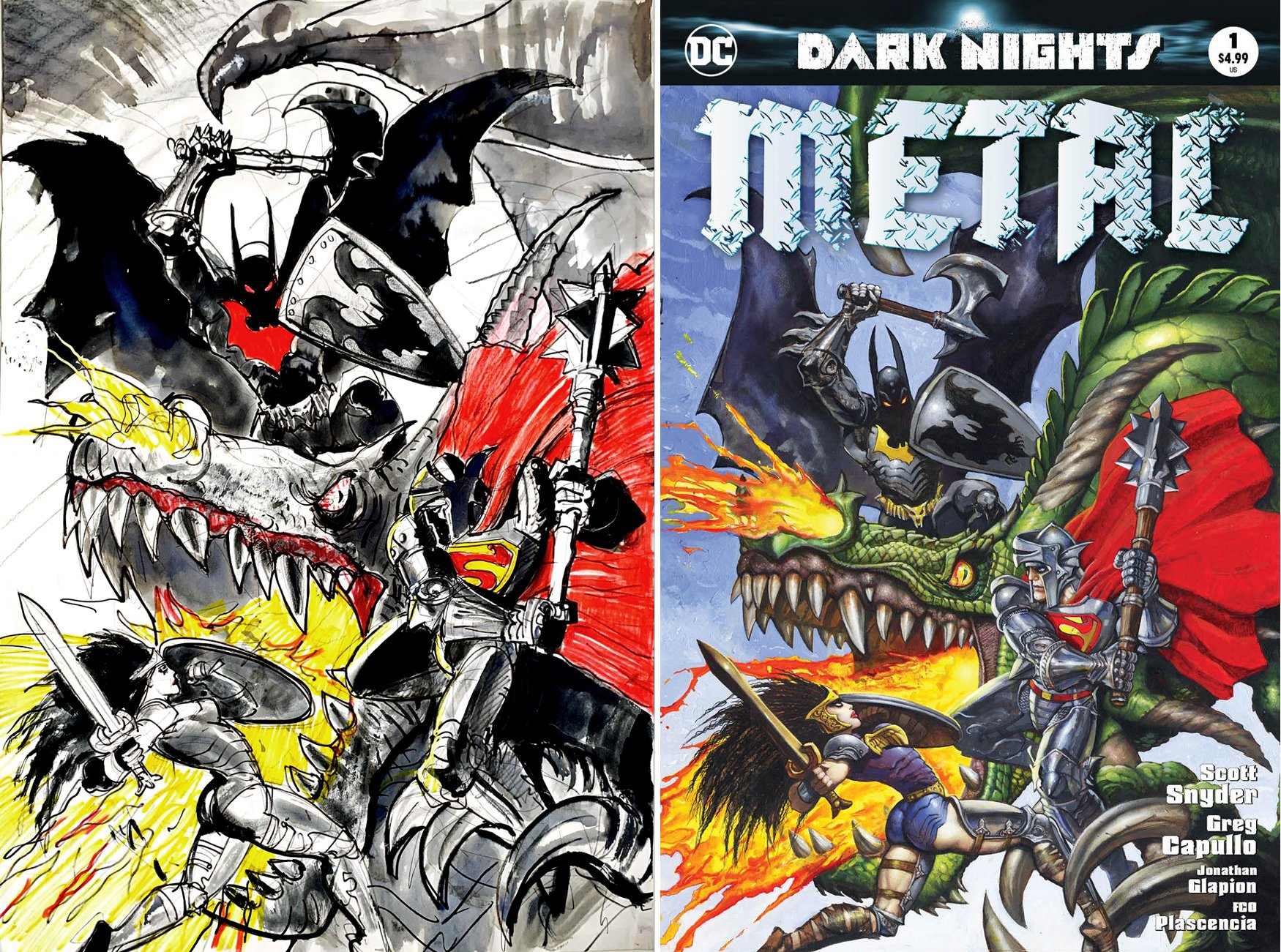Dark Nights: Metal #1 Cvr Prelim(SOLD LIVE ON 'DUELING DEALERS OF COMIC ART' EPISODE #29 PODCAST ON 8-4-2021 (RE-WATCH THIS FUNNY ART SELLING SHOW HERE)