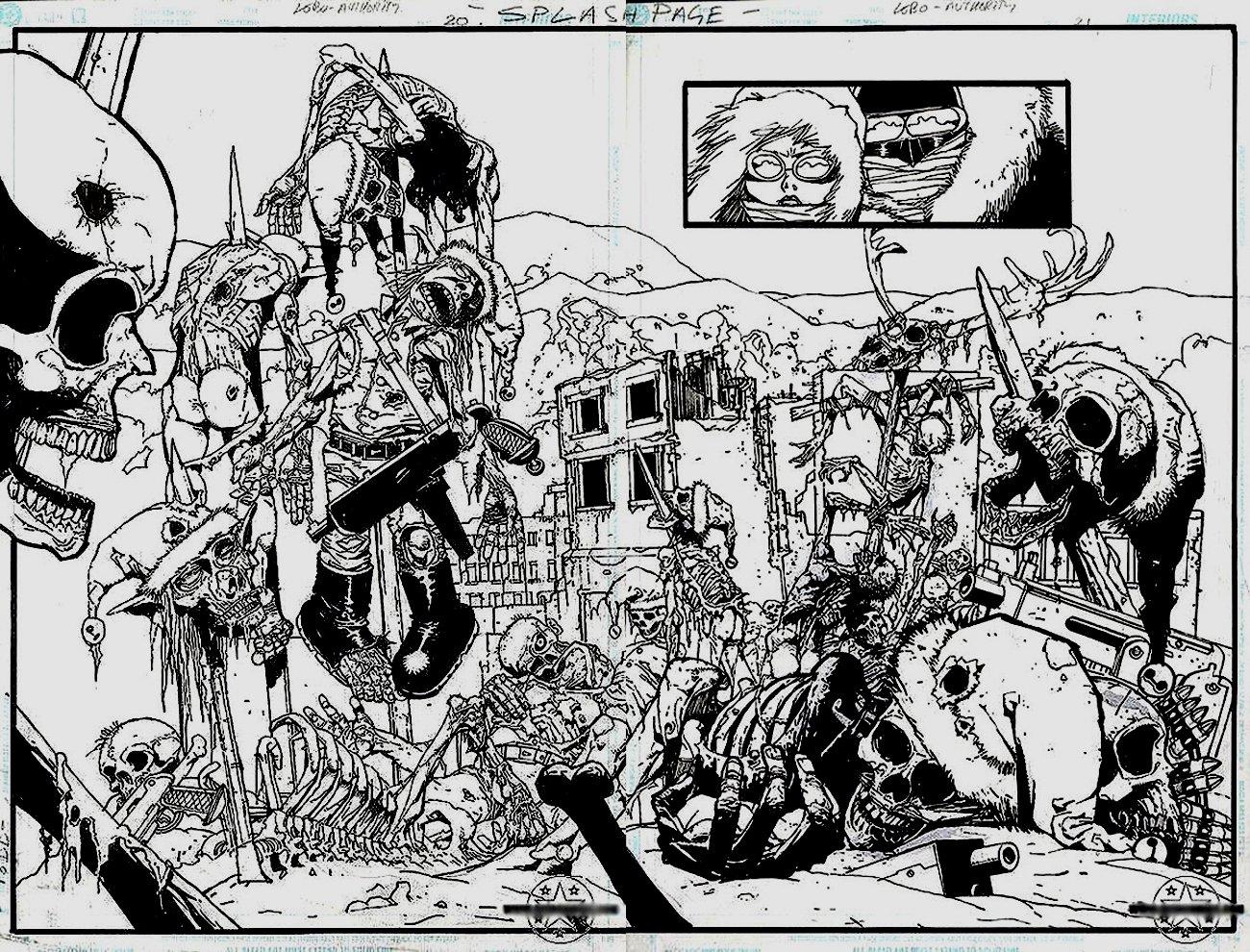 Authority / Lobo: Jingle Hell #1 p 20-21 Double Spread Splash (2003)