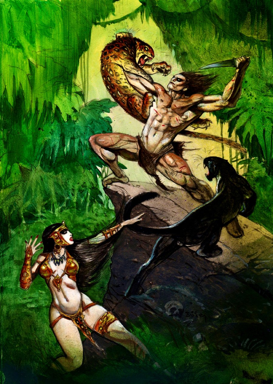 Tarzan and La of Opar Painted Pinup