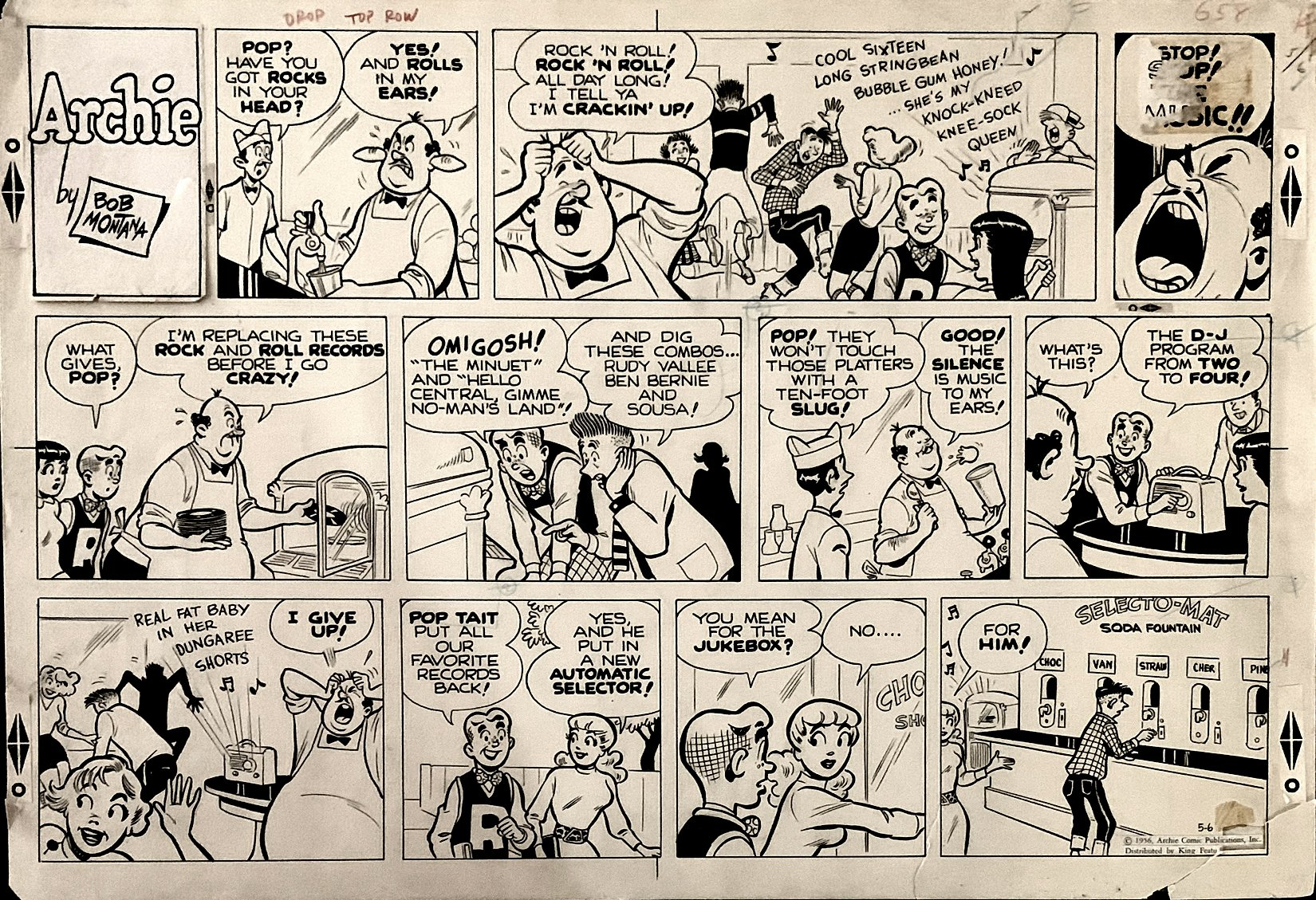Archie Sunday Strip 5-6-1956 (POSSIBLY THE EARLIEST MENTION OF THE TERM 'ROCK AND ROLL' IN A COMIC STRIP!