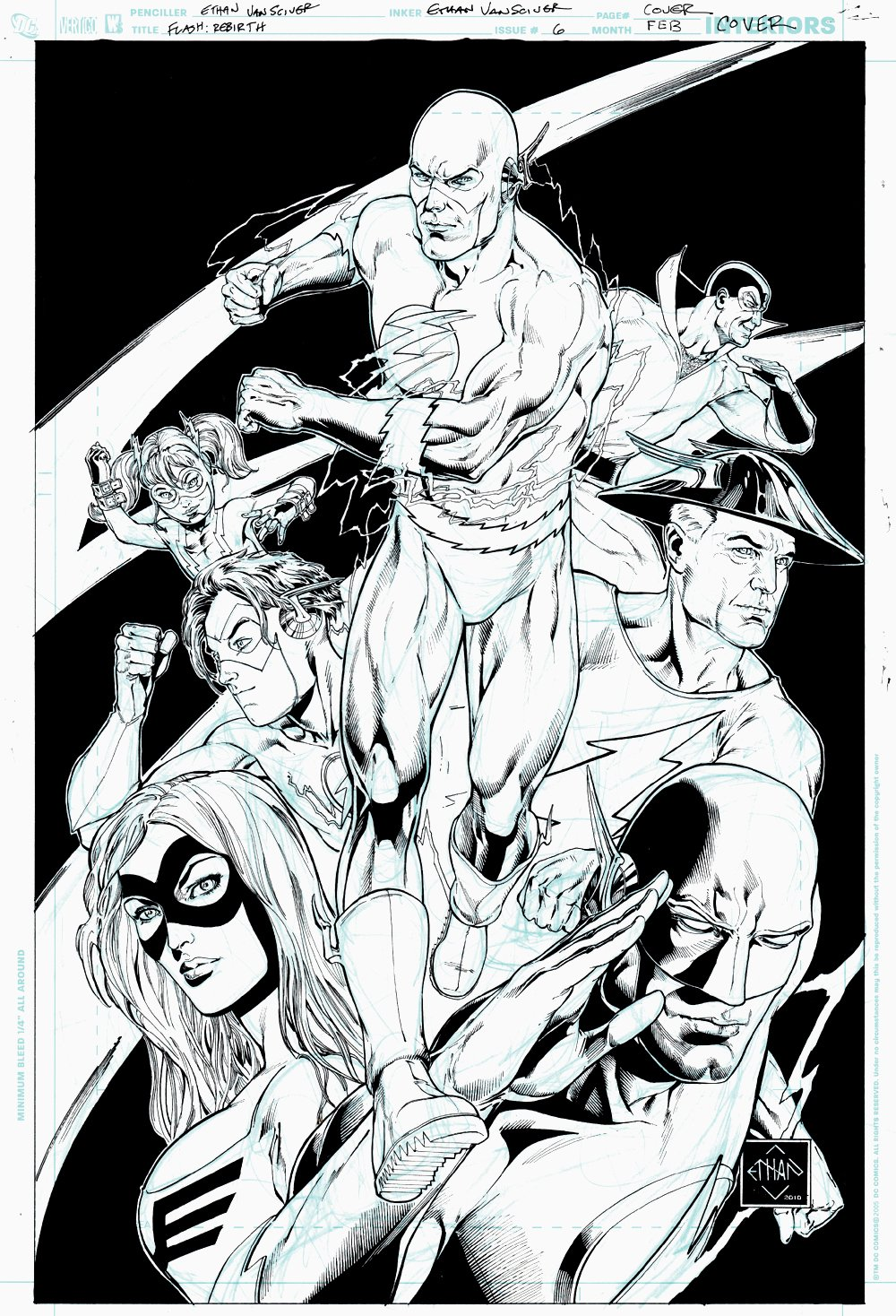 The Flash: Rebirth #6 (Awesome Flash Family Cover, 7 Heroes!) 2010