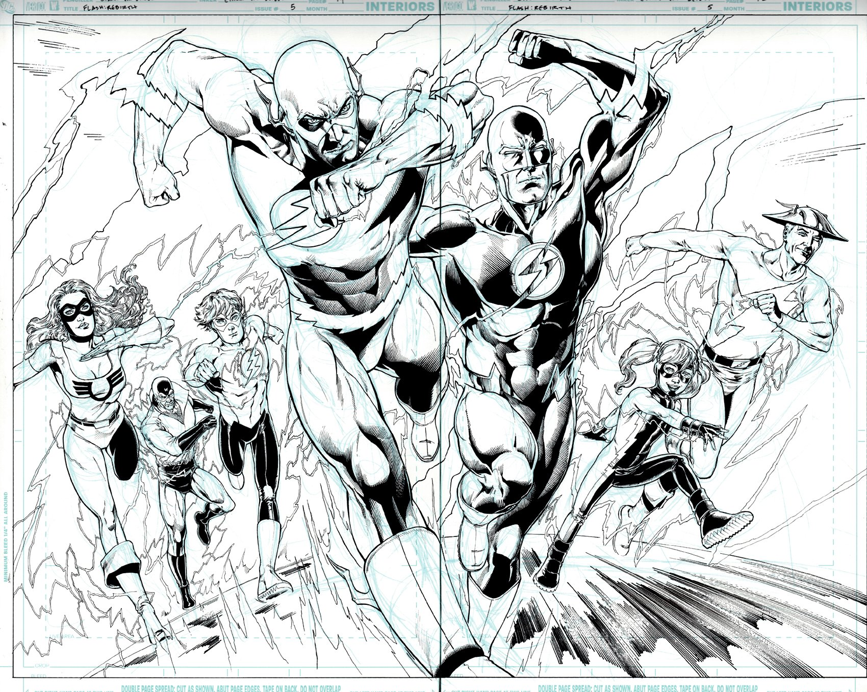 The Flash: Rebirth #5 p 14-15 (Awesome Flash Family Race, Double Spread Splash, 7 Heroes!) 2009