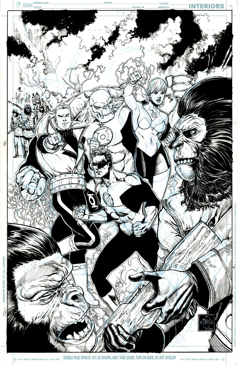 Planet of the Apes: Green Lantern #2 Cover (Green Lanterns: Hal Jordan, Guy Gardner, Kilawog and Arisa) 2017