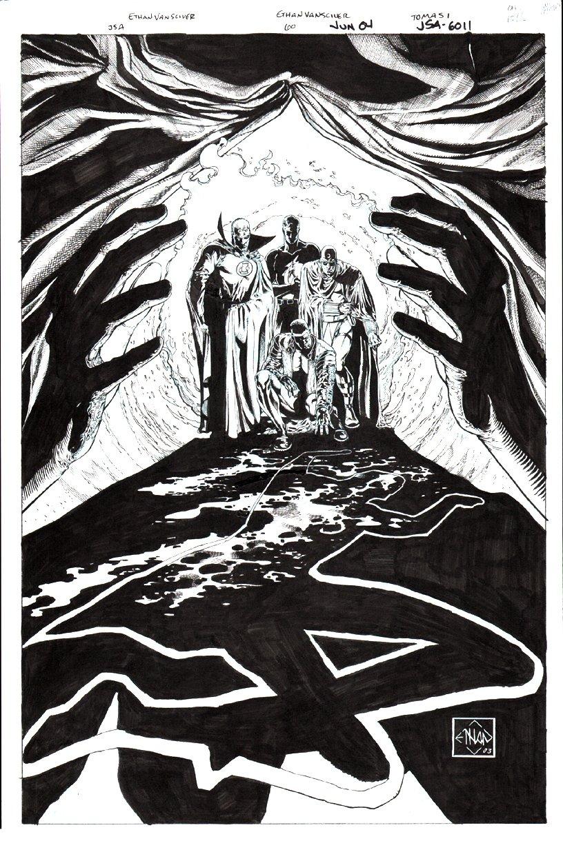 JSA #60 Cover (Golden Age Green Lantern, Flash, Mr. Terrific, Dr. Mid-Nite) 2003