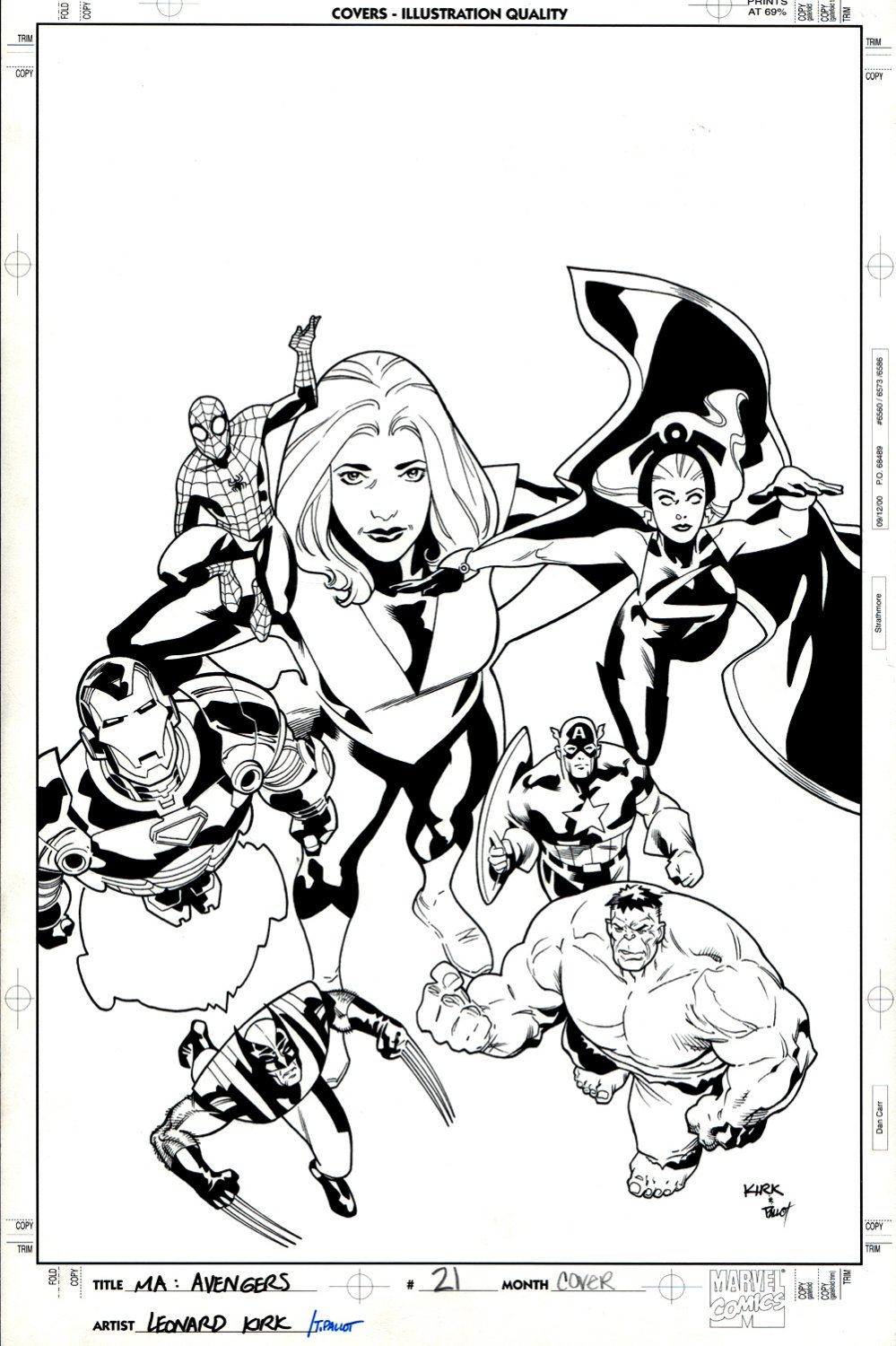 Marvel Adventures The Avengers #21 Cover (Captain America, Iron Man, Spider-Man, Hulk, Storm, Wolverine, Giant-Girl!) 2007