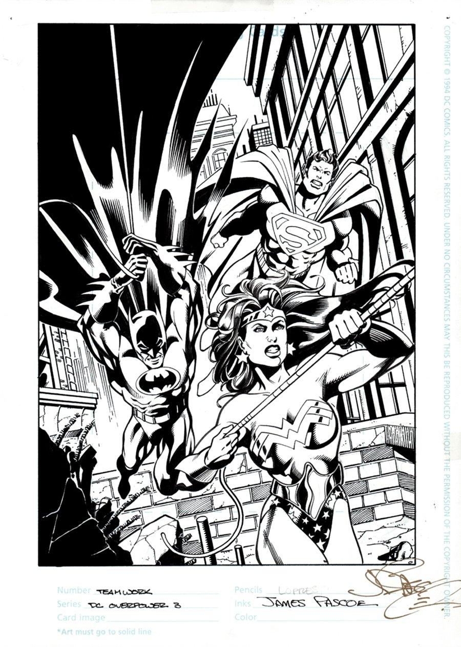 DC Overpower #3 Published Illustration (Wonder Woman, Superman, Batman!) 1996