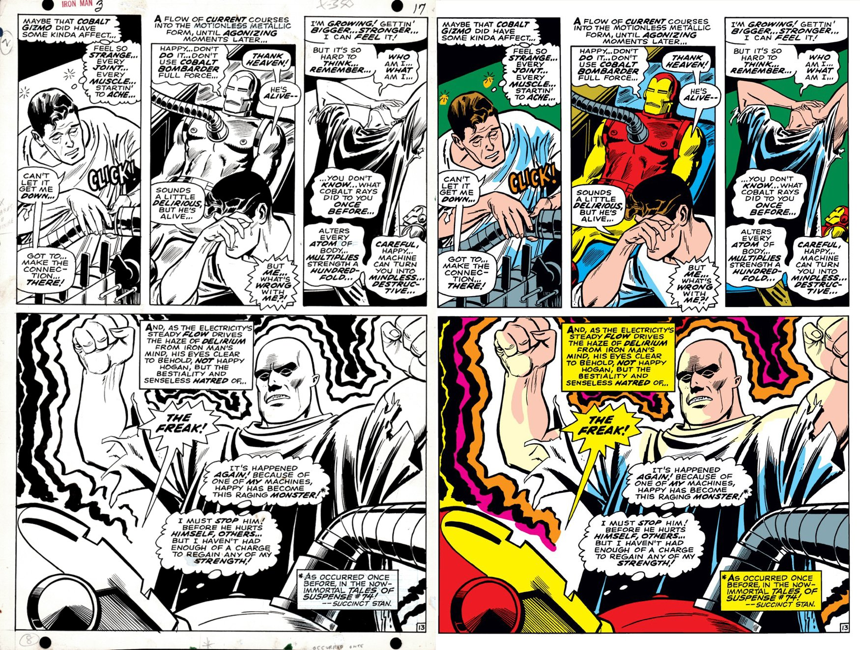 Iron Man #3 p 13 SEMI-SPLASH (IRON MAN BATTLES THE FREAK!) 1968