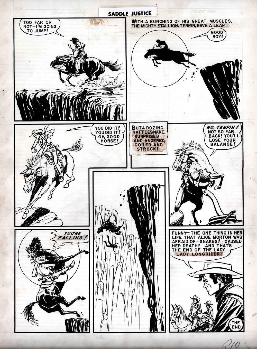 Saddle Justice #6 p 10 (Lady Longrider DEATH Page!) Large Art 1949