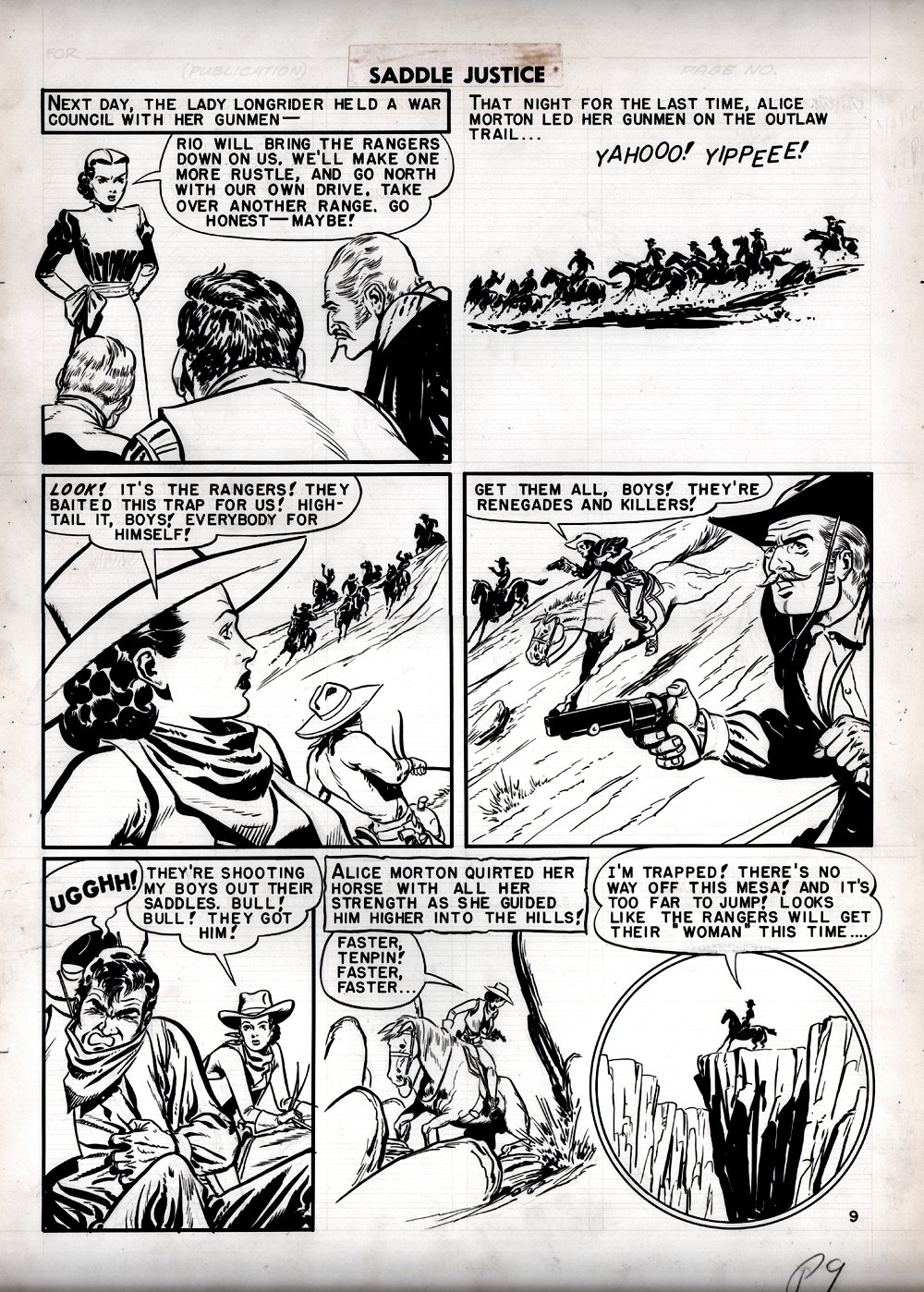 Saddle Justice #6 p 9 (Lady Longrider Chase Page!) Large Art 1949