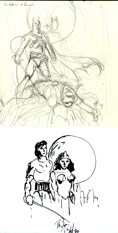2 Prelim Drawings of Batman, Tars Tarkas, John Carter, Deja Thoris