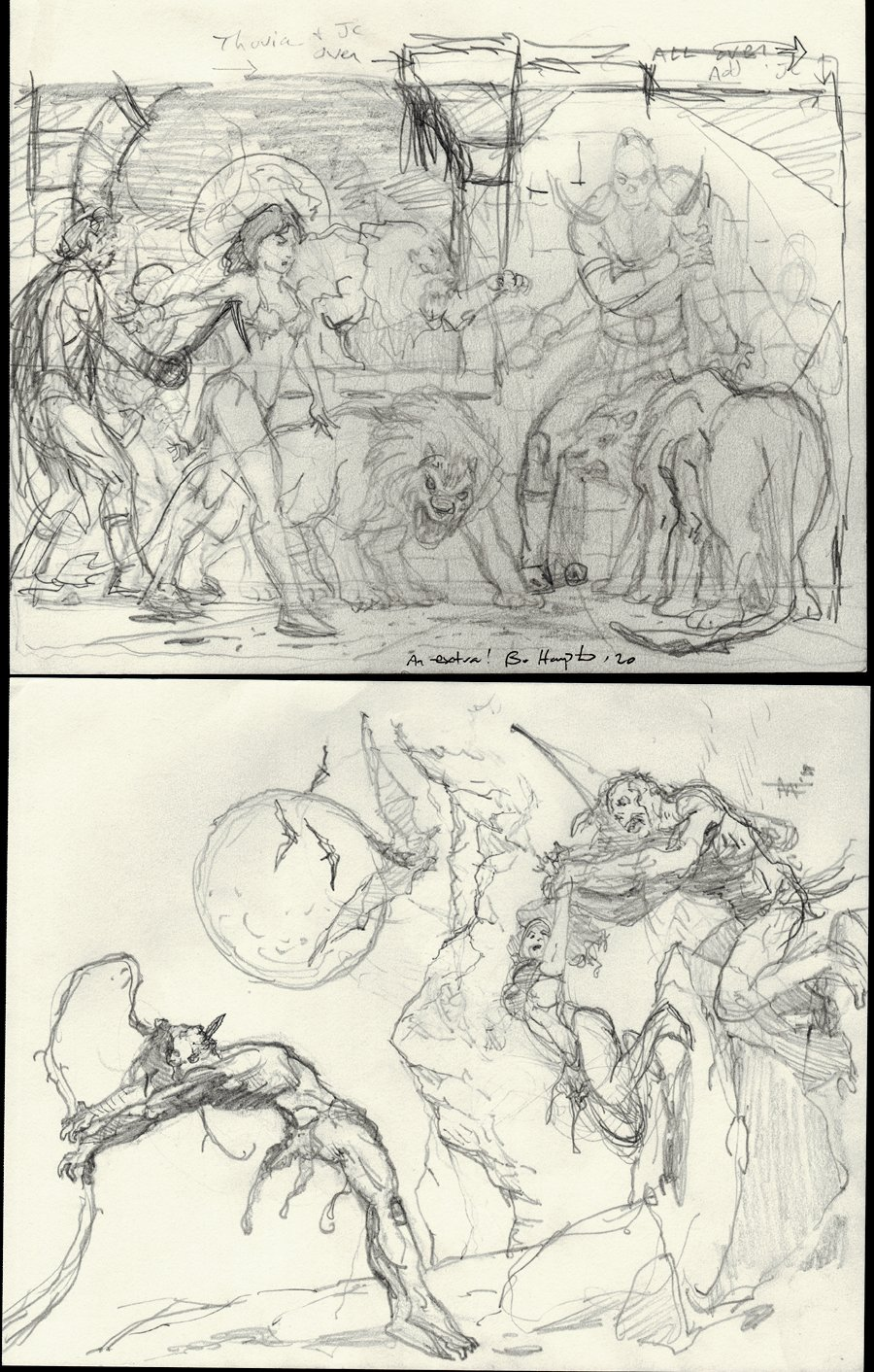 2 Detailed Pencil Prelim Drawings of John Carter, Deja Thoris, Tars Tarkas