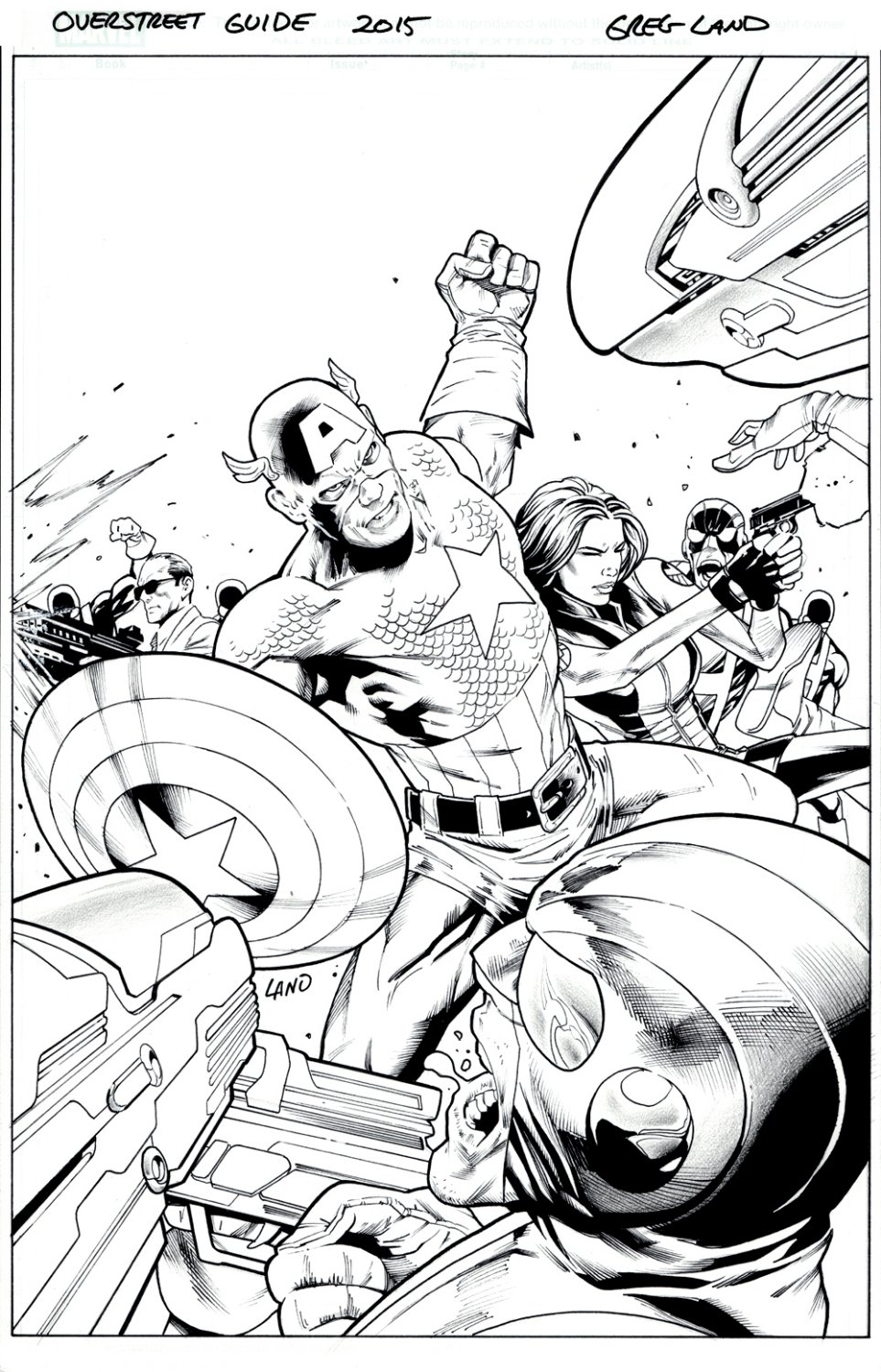 Overstreet Comic Book Price Guide #45 Cover (Awesome Captain America, Black Widow, & Agents of S.H.I.E.L.D. Battling Hydra!) 2015