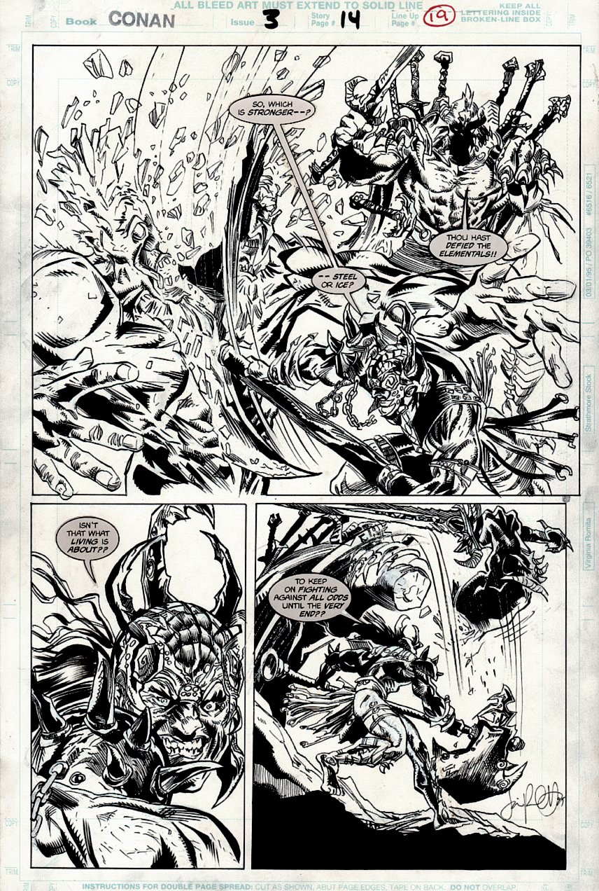 Conan: River of Blood #3 p 19 Semi-Splash (AWESOME BATTLE!) 1998