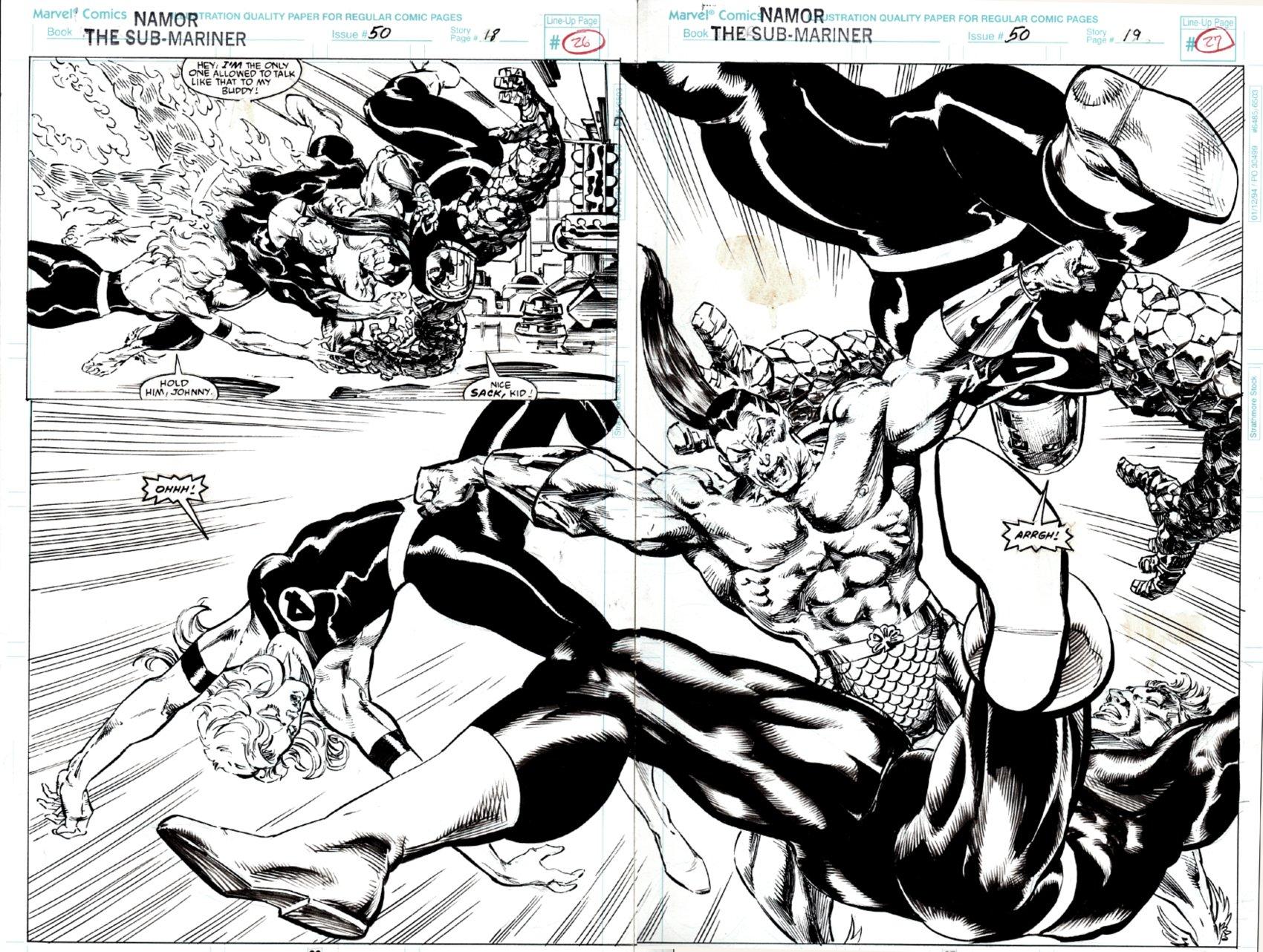 Namor, the Sub-Mariner #50 p 18-19 Double Spread Splash (FF / SUBBY BATTLE!) 1994
