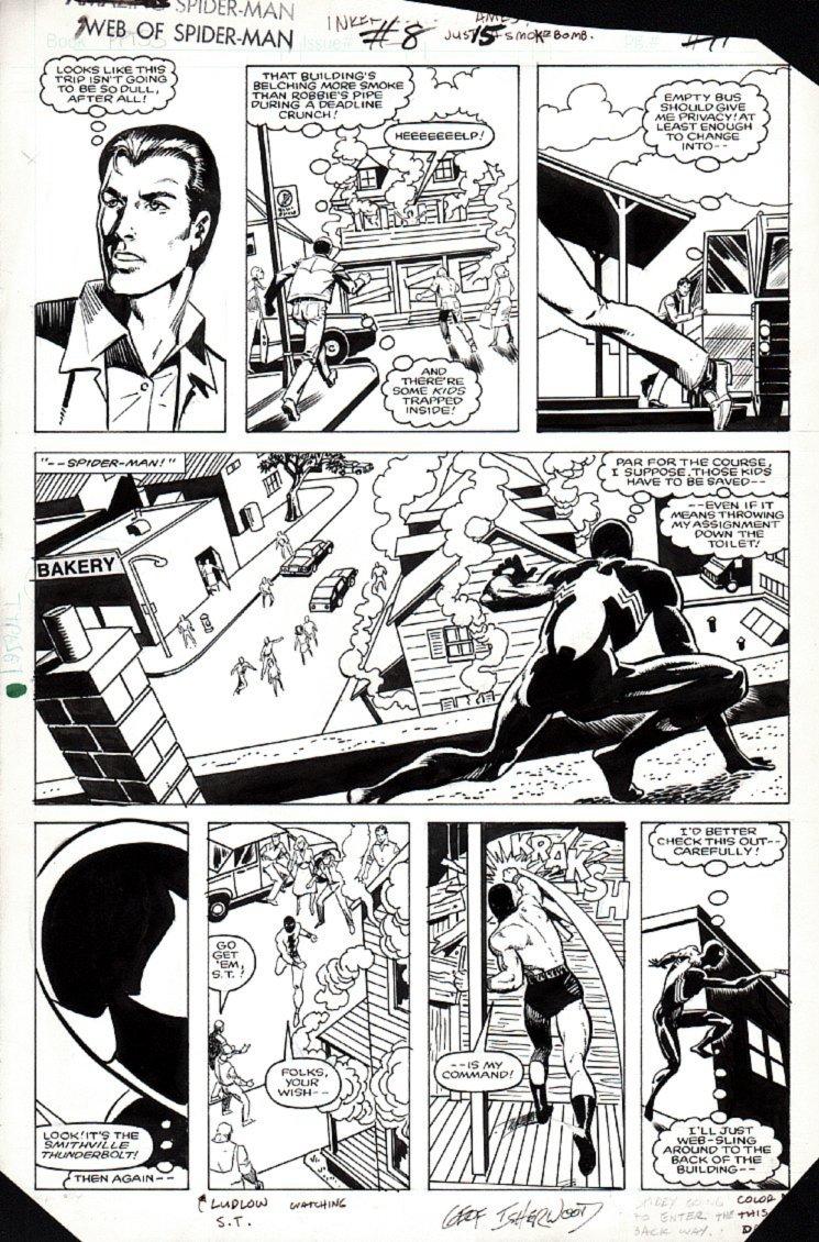 Web of Spider-Man #8 p 15 (Peter Parker, BLACK SPIDER-MAN THROUGHOUT!) 1985