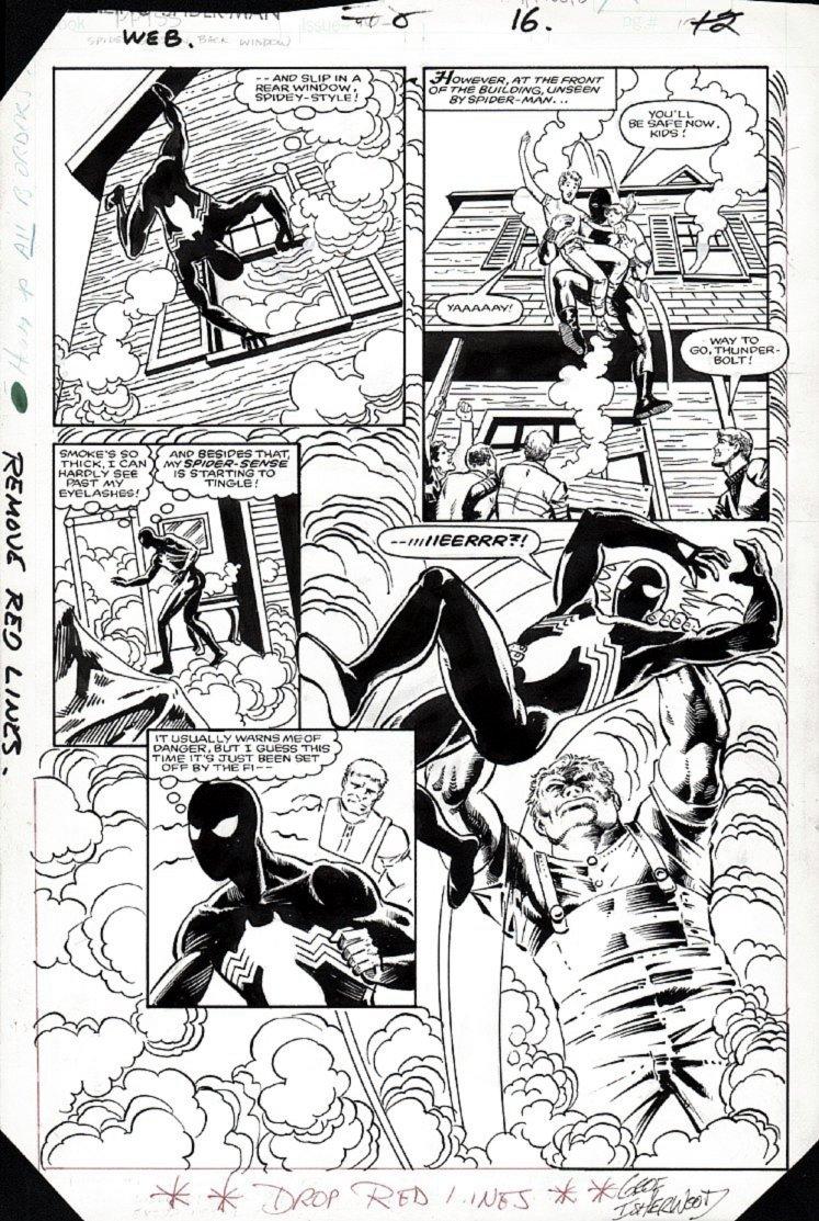 Web of Spider-Man #8 p 16 SEMI-SPLASH ( (BLACK SPIDER-MAN BATTLING THROUGHOUT!) 1985)