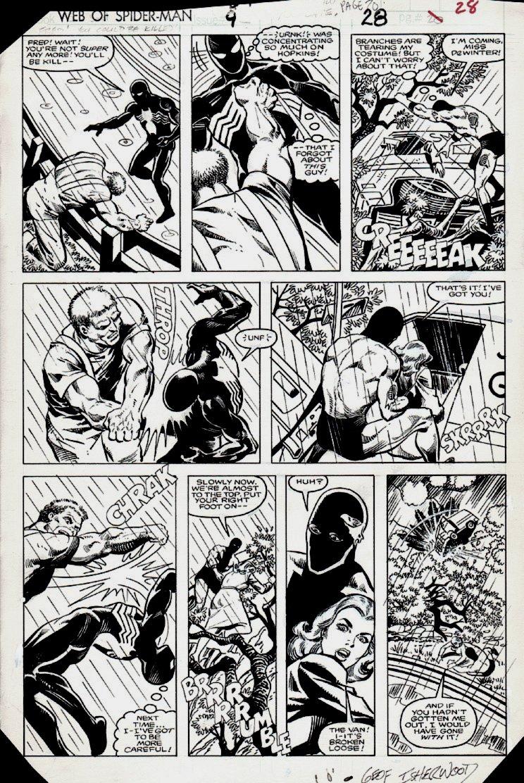 Web of Spider-Man #9 p 28 (BLACK COSTUME SPIDER-MAN BATTLE!) 1985