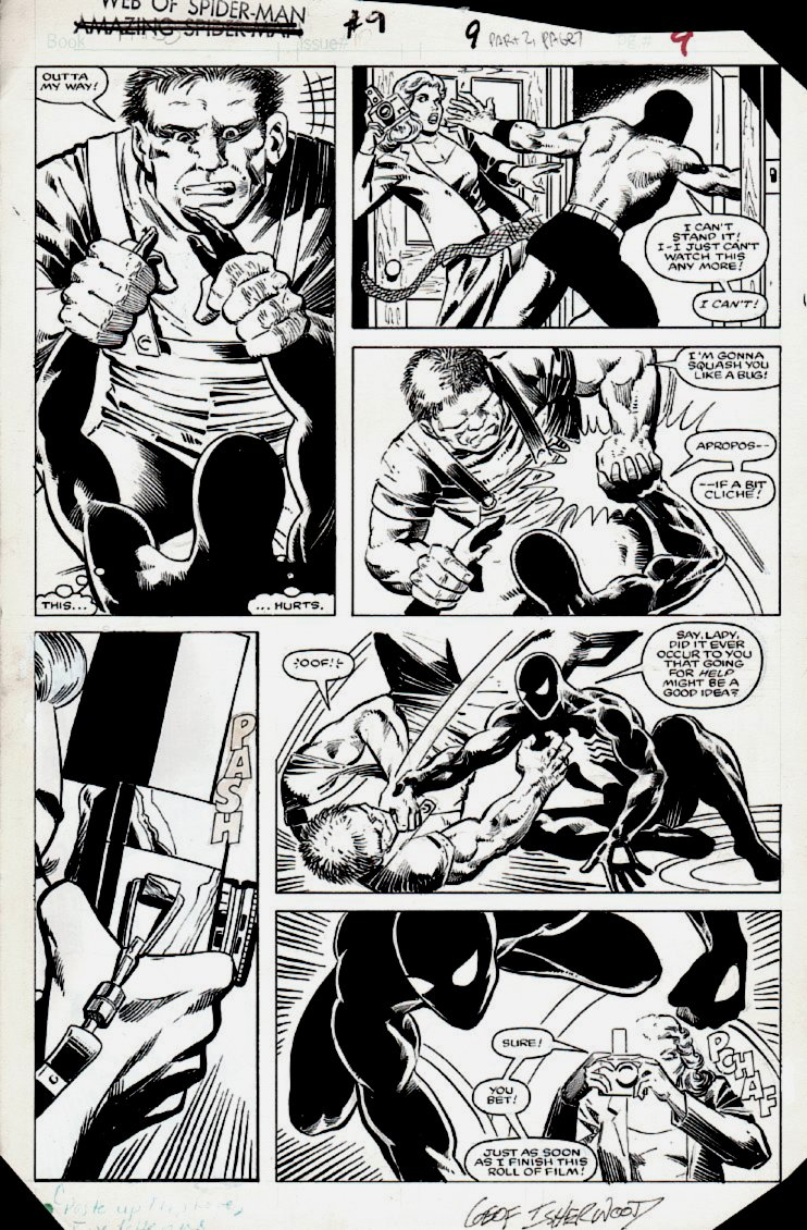 Web of Spider-Man #9 p 9 (BLACK COSTUME SPIDER-MAN BATTLE!) 1985