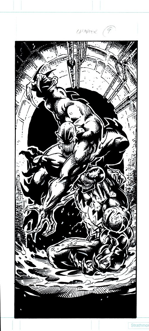 Spider-Man: Venom Factor, Chapter 9 Pinup (2 Venoms Battling In The Sewers!) 1994