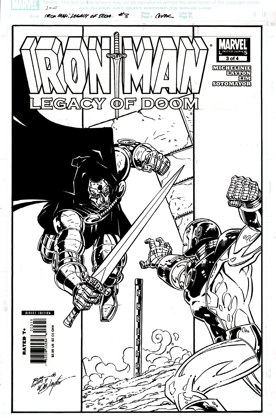 Iron Man: Legacy of Doom #3 Cover (DOOM VS IRON MAN, BOB LAYTON INKS!) 2008
