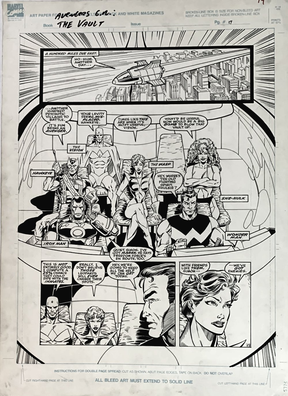Avengers: Death Trap, The Vault #1 p 19 Half Splash (ENTIRE AVENGERS TEAM ROLL CALL!) Large Art - 1991