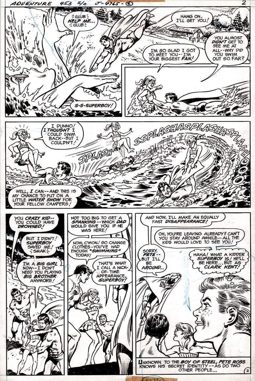 Adventure Comics #453 p 2 (Superboy In Every Panel Saving Drowning Girl!) 1977