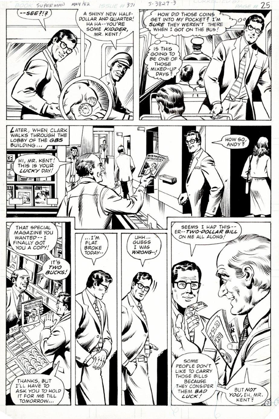 Superman #371 p 3 (Clark Kent keeps Getting Lucky!) 1981