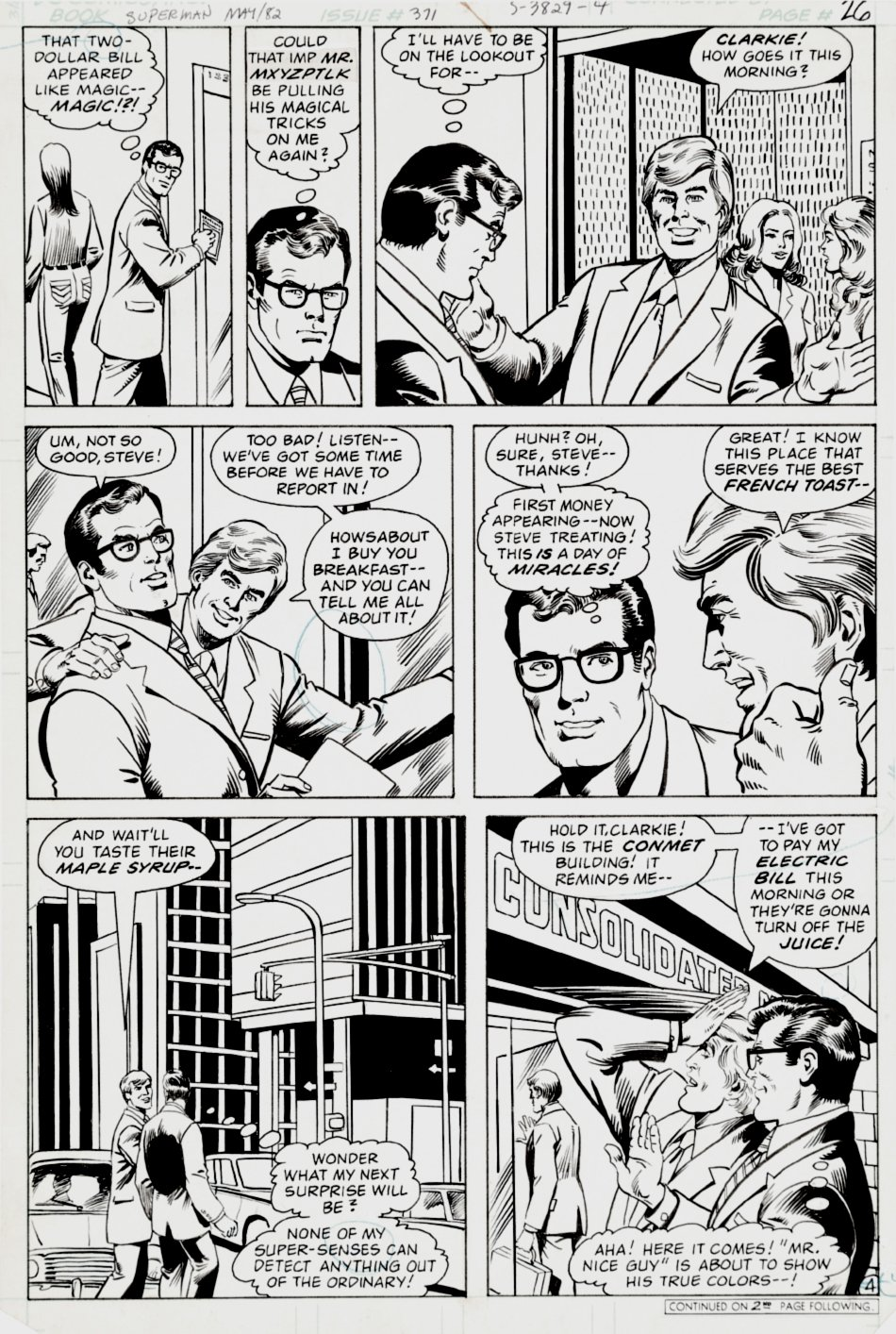 Superman #371 p 4 (Clark Kent keeps Getting Lucky!) 1981