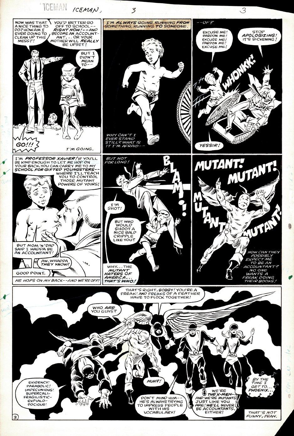 Iceman #3 p 3 (Professor X & ALL 5 ORIGINAL X-MEN!) 1984