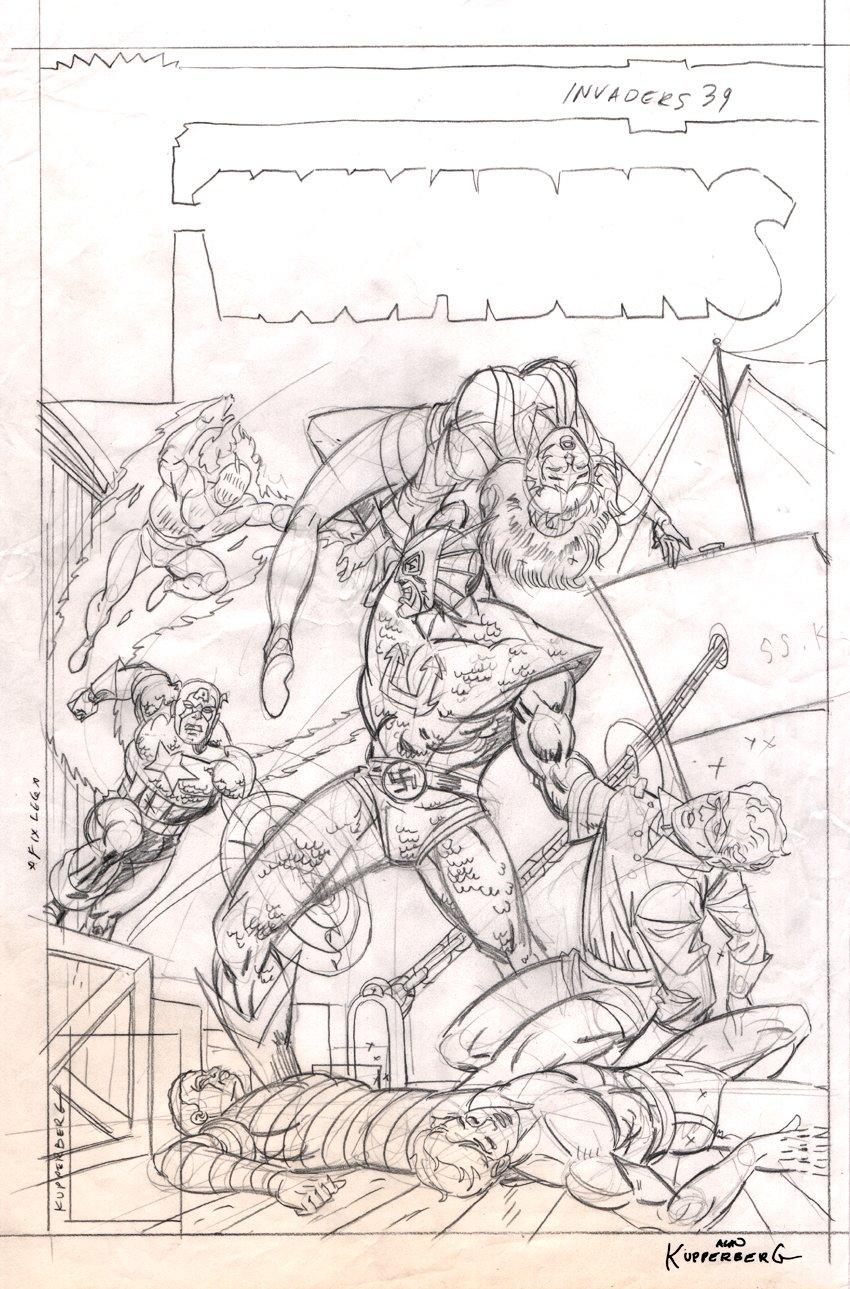 Invaders #39 Cover FULL SIZE Prelim (1978)