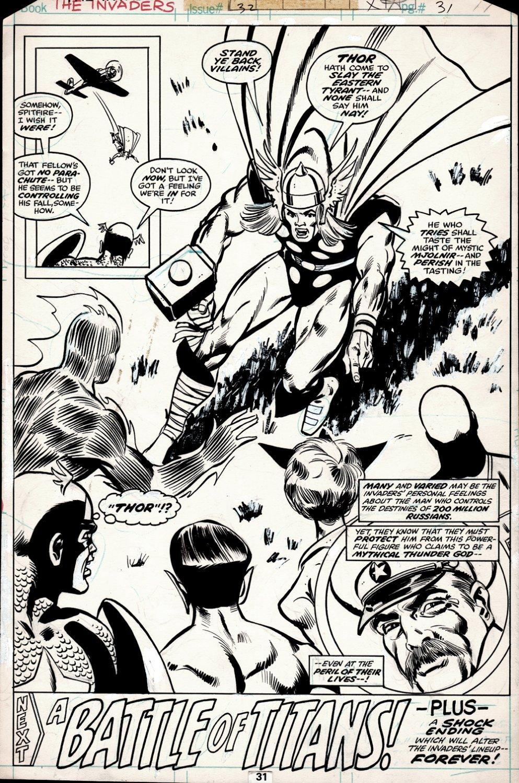 Invaders #32 HISTORIC SPLASH (Thor, Captain America, Human Torch, Sub-Mariner; Spitfire, Union Jack, Josef Stalin!) 1978