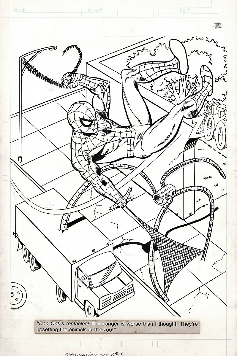 Spiderman/Dr. Octopus #1 p 9 SPLASH (LARGE SPIDER-MAN!) 1980s