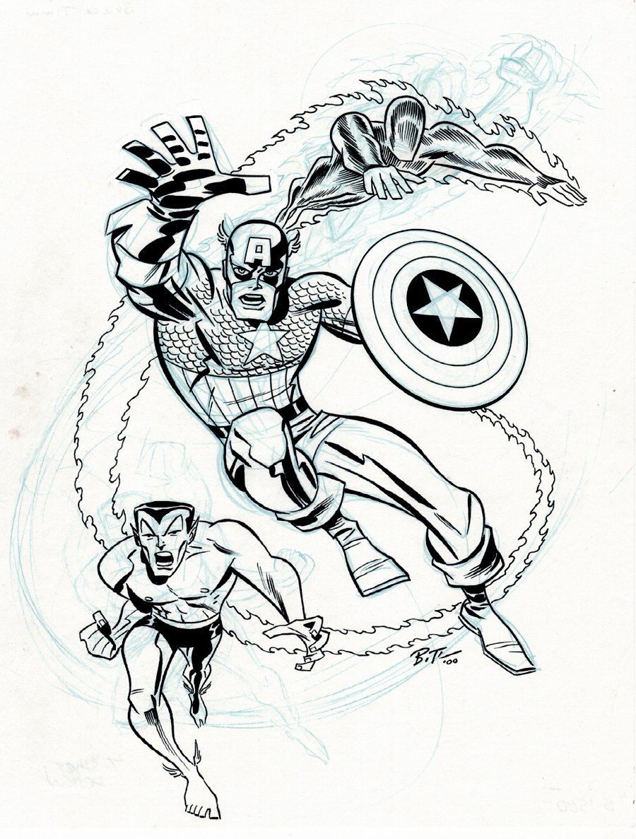 Invaders T-Shirt / Merchandising Pinup (Captain America, Sub-Mariner, Human Torch!)