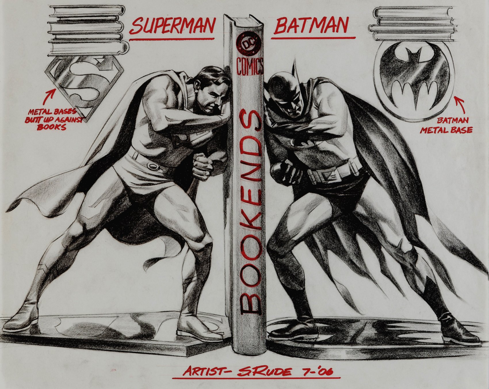 Superman / Batman: World's Finest Bookend Design (SOLD LIVE ON 'DUELING DEALERS OF COMIC ART' EPISODE #37 PODCAST ON 9-22-2021