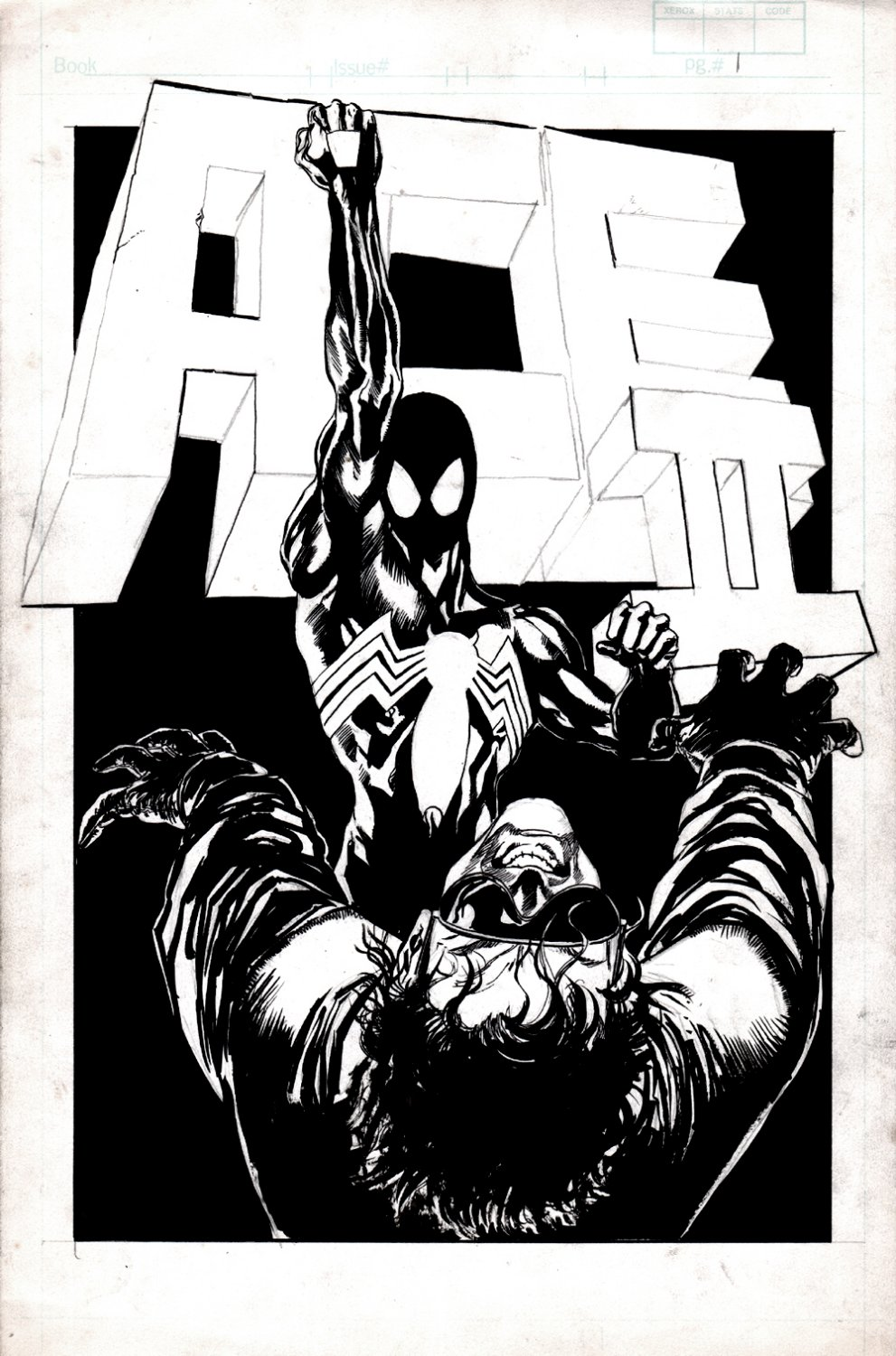 Spectacular Spider-Man Annual #6 p 1 SPLASH (Black Costume Spider-Man Punches Out Ace) Published or Unpublished 1986
