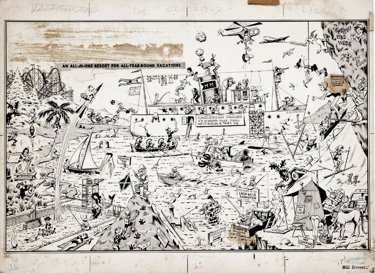 Cracked #24 Huge 2 Page Illustration Drawn on 1 Large Board (1962)