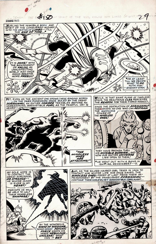 Strange Tales #150 p 9 (DR STRANGE, CLEA, KALUU, MINDLESS ONES!) Large Art - 1966