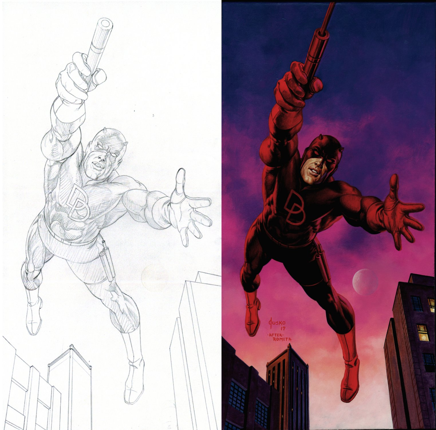 Daredevil Pencil For John Romita Homage Painting (SOLD LIVE ON 'DUELING DEALERS OF COMIC ART' EPISODE #31 PODCAST ON 8-14-2021(RE-WATCH THIS FUNNY ART SELLING SHOW HERE)