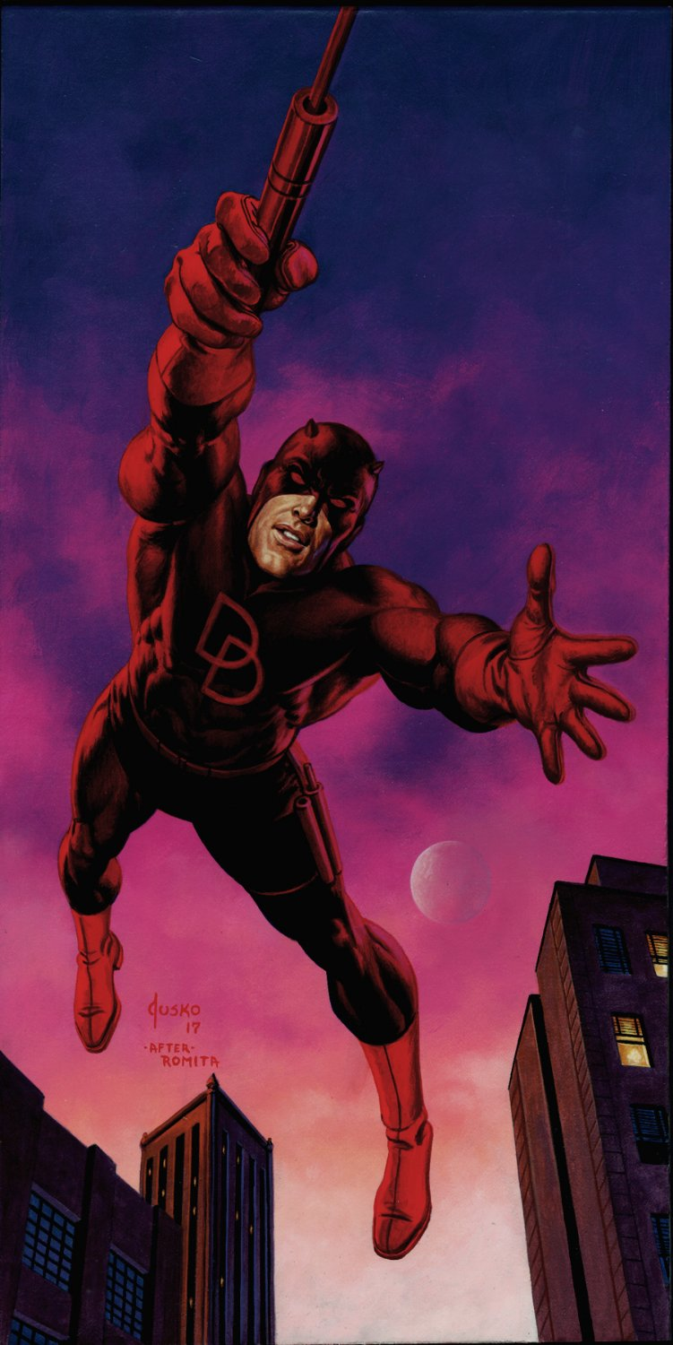 Daredevil Large Painting (SOLD LIVE ON 'DUELING DEALERS OF COMIC ART' EPISODE #32 PODCAST ON 8-18-2021(RE-WATCH THIS FUNNY ART SELLING SHOW HERE)