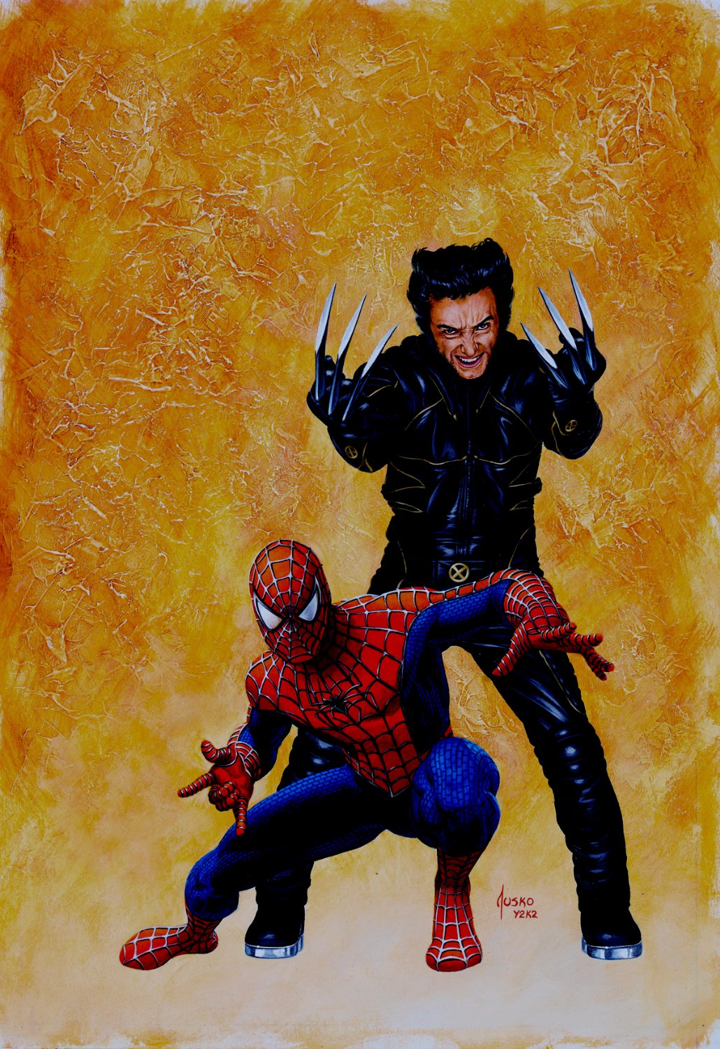 Wizard Magazine #132 Cover Painting (Spider-Man & Hugh Jackman Wolverine!) Large Art - 2002