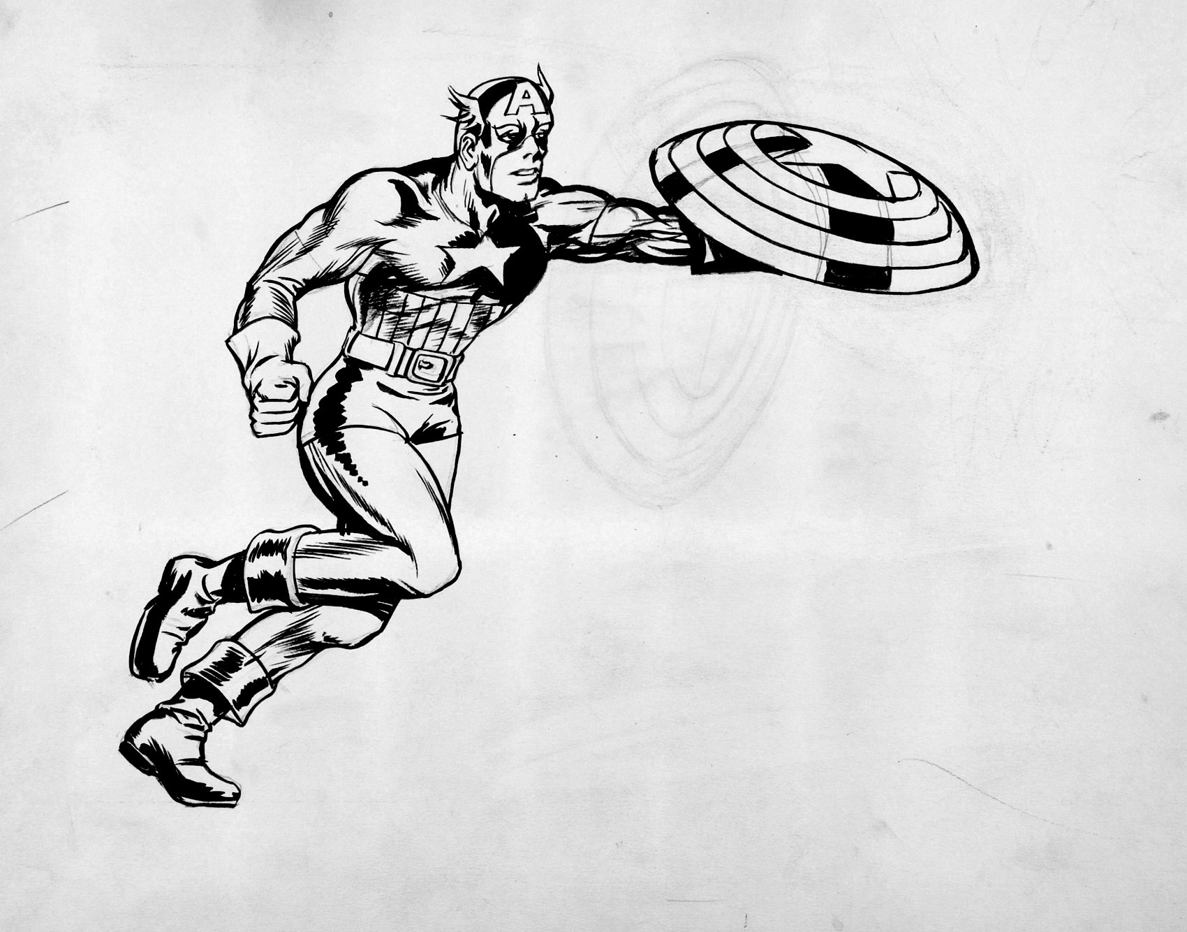 Captain America Illustration (SOLD LIVE ON THE ROMITAMAN ART DROP PODCAST ON 10-9-2021(RE-WATCH THIS FUN ART SELLING SHOW HERE)